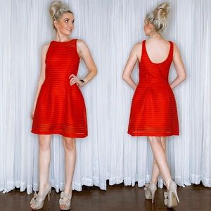 It's Dresses - Red Stripe Fit Flair Sundress